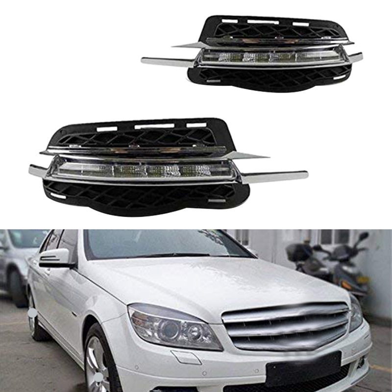DHBH-Car DRL Daytime Running Lights Fog for <font><b>Mercedes</b></font> Benz W204 C180 C200 C260 C250 <font><b>C300</b></font> 2008 2009 <font><b>2010</b></font> image