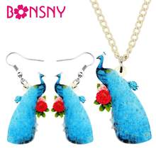 Bonsny Acrylic Elegant Blue Peacock Flower Necklace Earrings Jewelry Sets Sweet Kids Girls Teens Charms Party Gift Decorations(China)