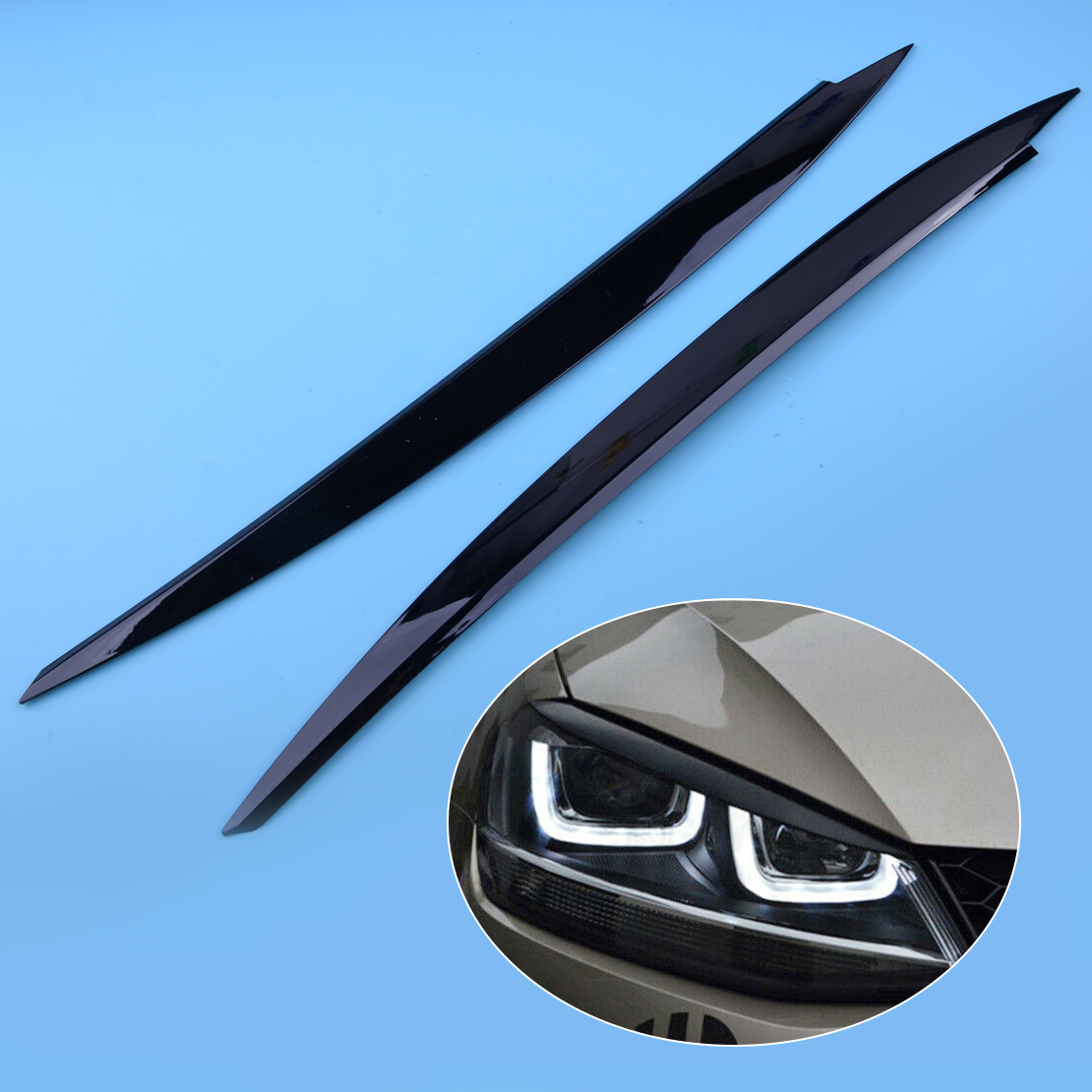 CITALL 2pcs ABS Black Headlight Eyebrow Eyelids Decoration Cover Trim Fit For <font><b>VW</b></font> <font><b>Golf</b></font> <font><b>7</b></font> VII GTI <font><b>GTD</b></font> GTE R MK7 image