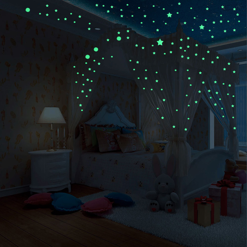 104/407 Pcs Luminous Dots Stars 3D Wall Sticker For Kids Room Living Room Bedroom Decoration Decals Glow In The Dark Stickers