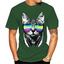Camiseta velocimasculino dj gato colorido festival de néon música clube a19950 2021