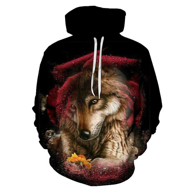 Boys sweatshirts 3D printing mans wommen ice fire Animal Wolf Series pullover animals long sleeve hoodies girls tops thin hoodie 5