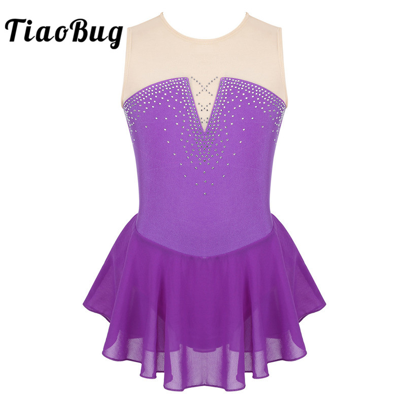 TiaoBug Kids Teens Shiny Rhinestone Dancewear Girls Mesh Ballet Gymnastics Leotard Figure Skating Dress Lyrical Dance Costumes