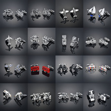 A variety of vehicles, French cufflinks, studs, men's cufflinks, studs, shirts, men's and women's accessories