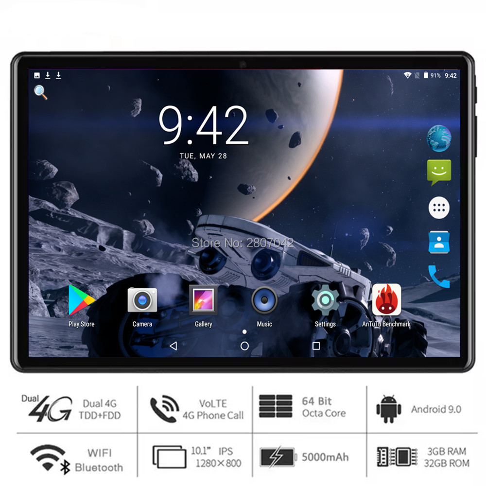 2020 Super Tempered 2.5D Screen 10 Inch Tablet PC Android 9.0 OS Octa Core 3GB RAM 32GB ROM +TF Card 64GB 5G Wifi GPS Tablet