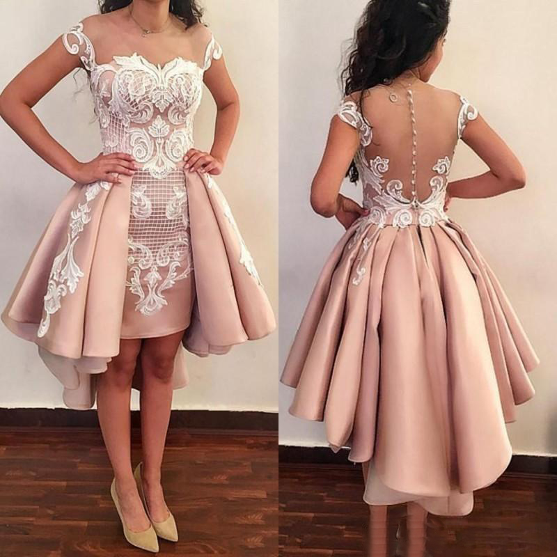 New Arrival Short   Prom     Dresses   2019 Lace Appliques Cap Sleeves Mini Formal   Dress   Evening Wear with Detachable Train Custom Made