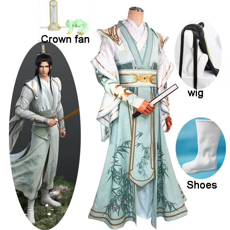 7PCS Anime Villain Self-Rescue System Cosplay Costume MO DAO ZU SHI Cosplay Men Women Halloween Chinese Ancient Suits and wig