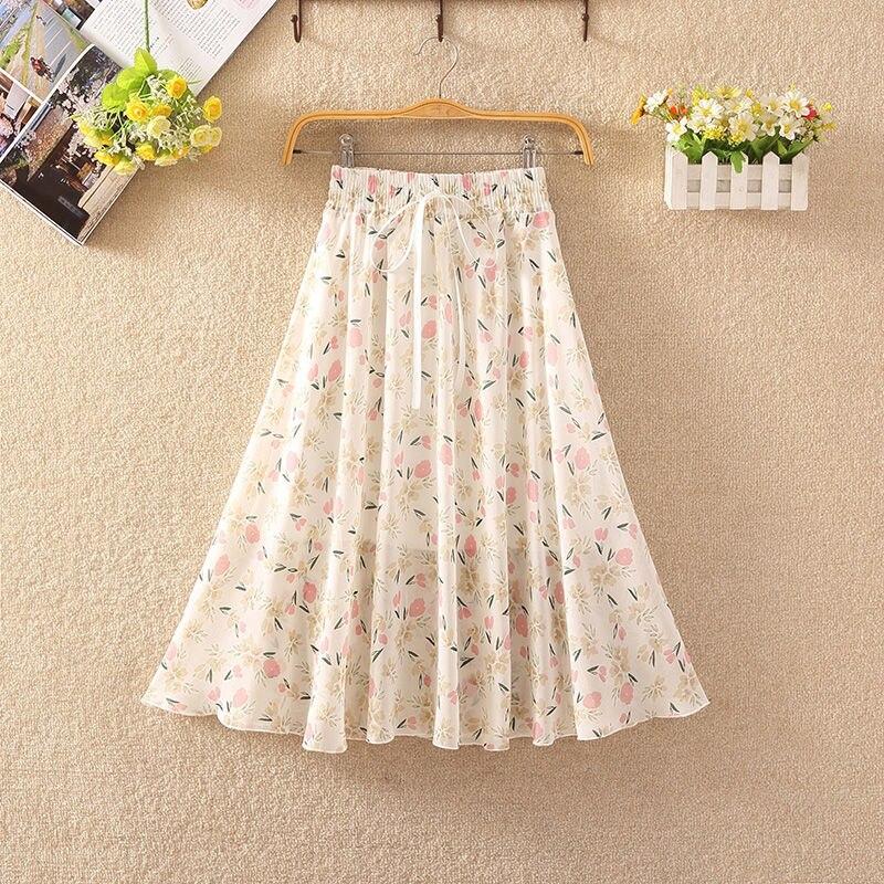 Women's Floral Skirt High Waist Long Summer 2020 Printed Chiffon Skirt Summer Woman Skirts Mujer Faldas Saias Mulher 4