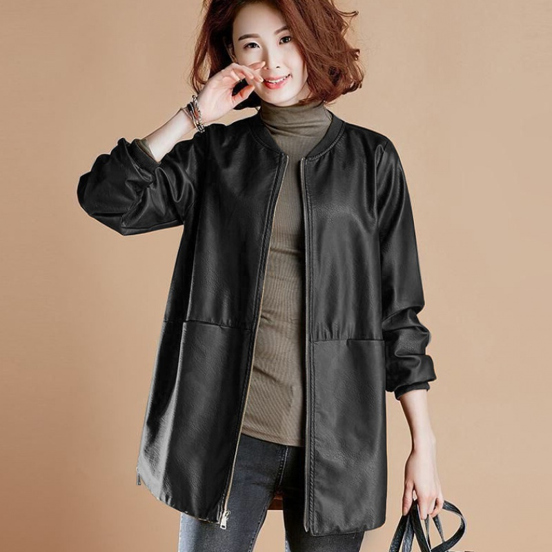 Women PU Leather Zipper Jacket Long Sleeve Casual Round Neck Motorcycle Coat 2019 Winter Spring New Fashion Outwear Clothes