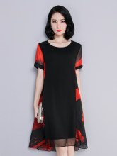 2020 New Summer Silk Dress Women Midi Casual Mesh Dress Party Plus Size Dresses A Line Vestidos De Verano 6603 KJ3896(China)