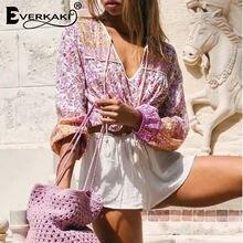 Женская блузка в стиле бохо everkaki летние рубашки с цветочным