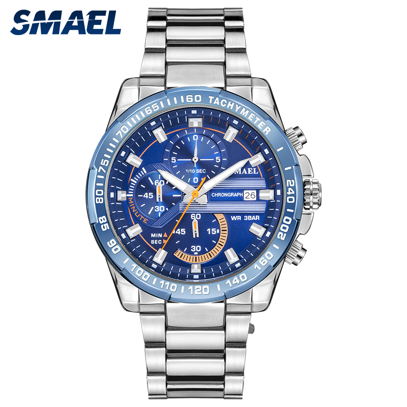 Image 2 - SMAEL Business Men Watches Casual Waterproof Men's Quartz Wristwatch Fashion Stainless Steel Band Clock Sport Watches Men 9089-in Quartz Watches from Watches