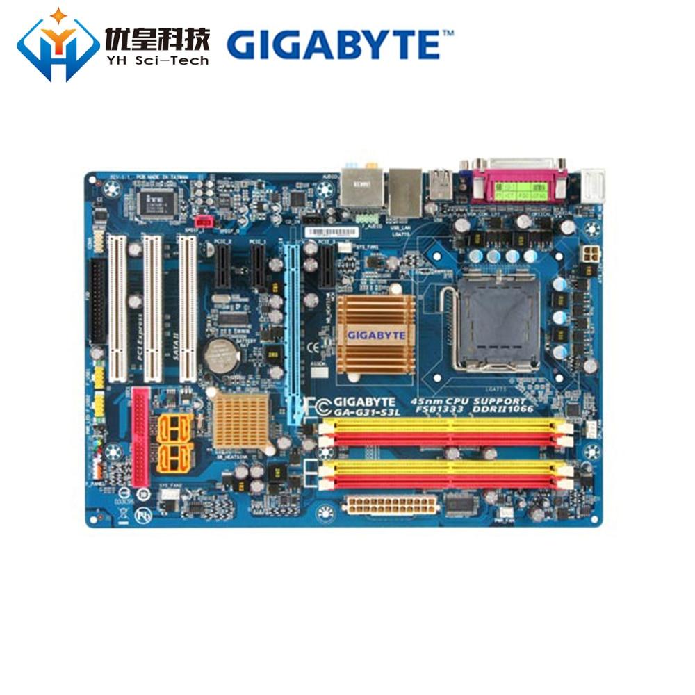 Original Used Desktop Motherboard Gigabyte GA-G31-S3L G31 LGA 775 Core 2 Quad/Core2 Extreme/Core 2 Duo DDR2 ATX