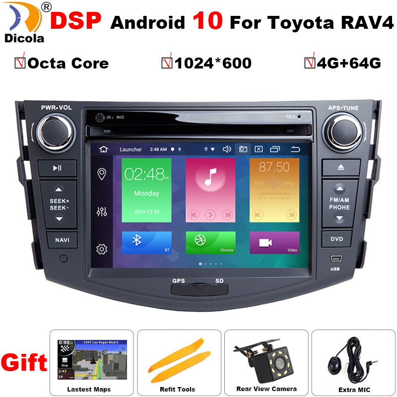 Автомобильный Dvd плеер с восьмиядерным процессором, 4 Гб + 64 ГБ, Android 10, DSP для Toyota RAV4 Rav 4 2007 2008 2009 2010 2011, 2 din 1024*600, gps навигация, Wi Fi