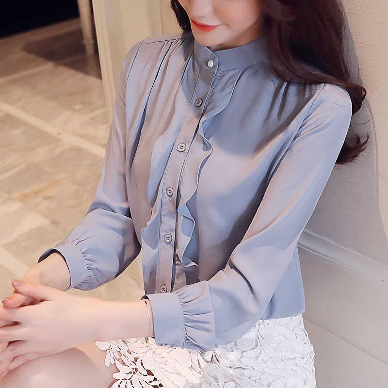 Blusas de chifón de moda Coreana de manga larga con volantes camisas blancas de Mujer talla grande XXL Blusas femeninas elegantes Tops de mujer