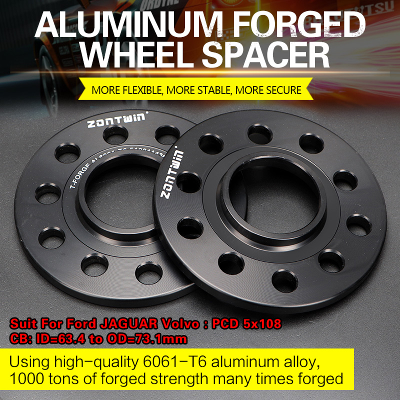 2/4PCS 3/5/8/10/12mm Wheel Spacer Adapters PCD 5x108 CB: ID=63.4mm To OD=73.1mm Suit For Ford JAGUAR Volvo Car