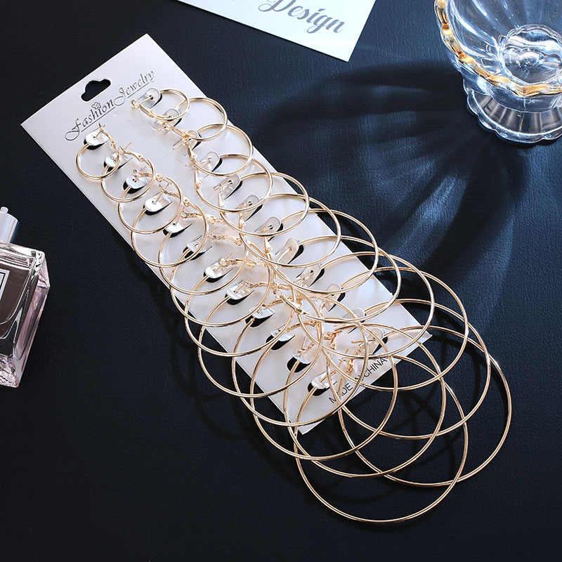 12 Pair 2019 Women Large Circle Silver Hoop Earrings Gold for Women Round Huggie Creole Earrings Set Vintage Hoops Ear Rings