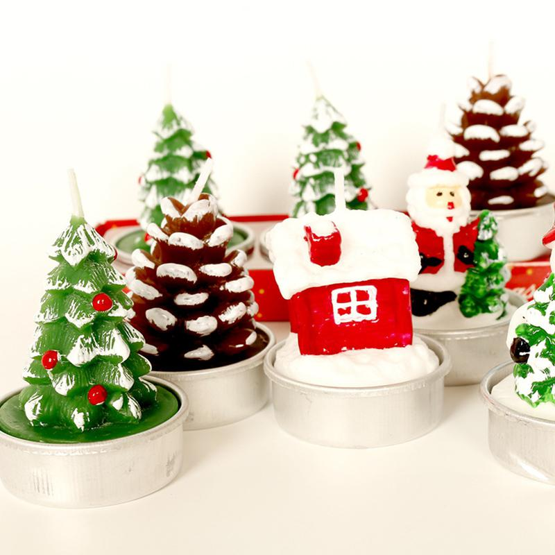 GloryStar 3pcs Christmas Paraffin Candles Santa Snowman Xmas Party House Decoration Gift Home Decor