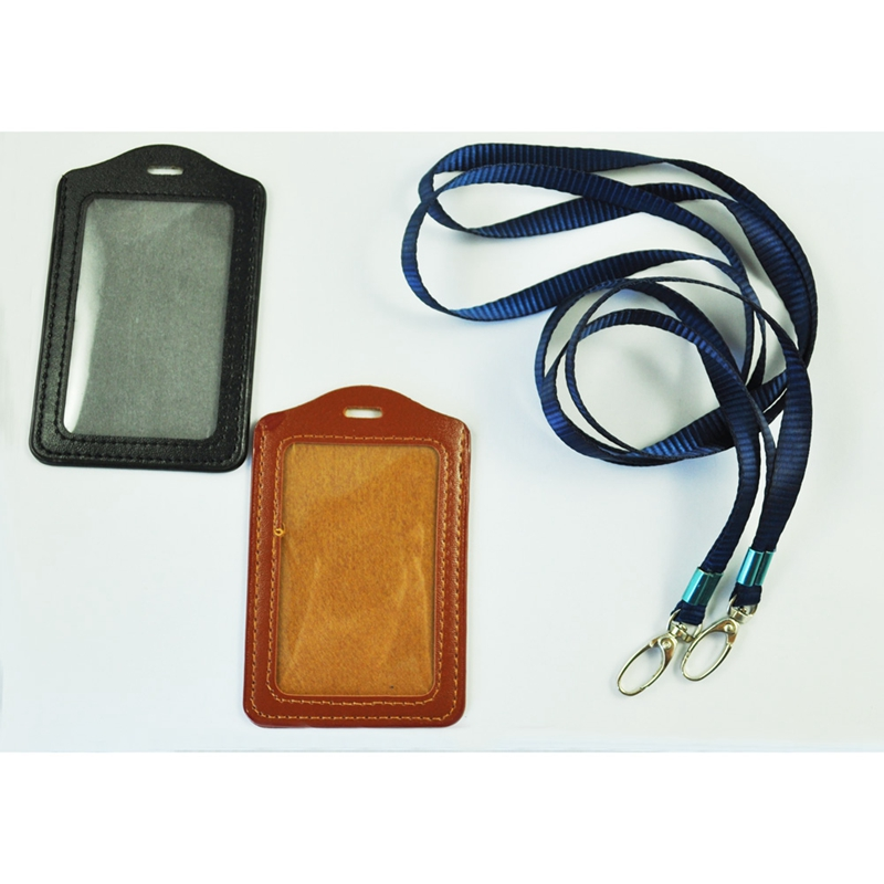 2 Pcs Faux Leather Business ID Badge Card Vertical Holders Black Brown