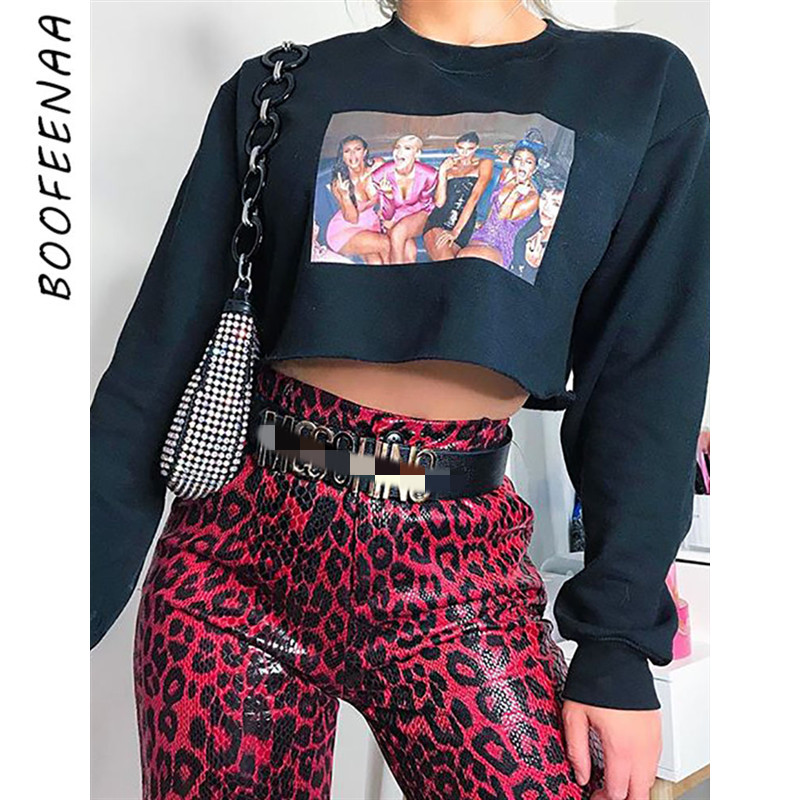 BOOFEENAA Kardashian Print Black Sexy Cropped Hoodie Streetwear Fashion Pullover Long Sleeve Sweatshirt Women Fall 2019 C54-AA52