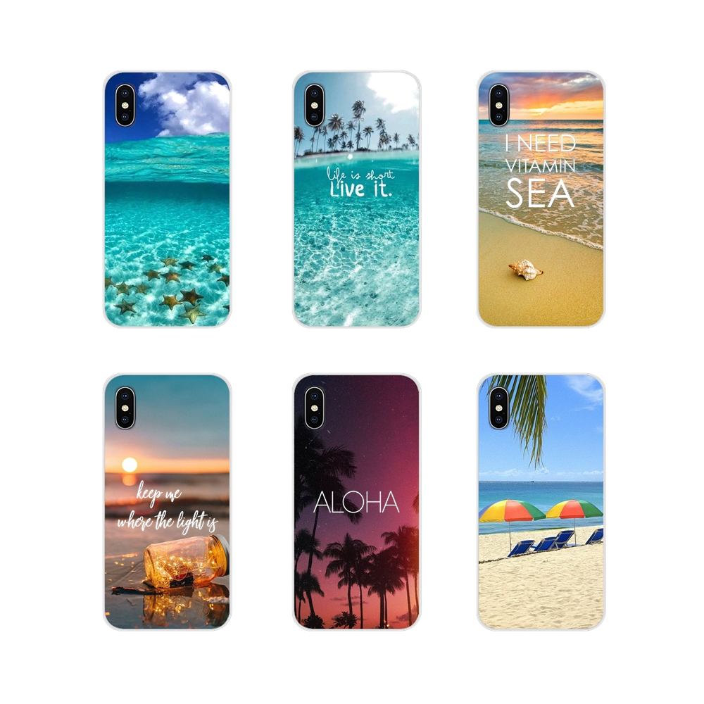 For <font><b>Huawei</b></font> Nova 2 3 2i 3i <font><b>Y6</b></font> Y7 Y9 Prime Pro GR3 GR5 2017 <font><b>2018</b></font> 2019 Y5II Y6II Cell Phone Bag <font><b>Case</b></font> <font><b>Summer</b></font> Beach Starfish Blue Sky image