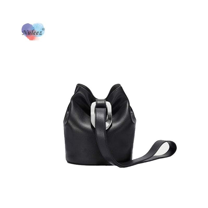 Nuleez Bucket Bag Women One Shoulder Genuine Leather Special Design Sequined Lock New Collection Bag 2020