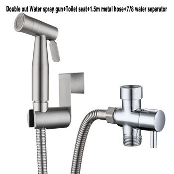 304 Stainless Steel Toilet Hand  Bidets  Faucet  Home Wash Bidet Sprayer Set Accessories Multifunction Kitchen Toilet Cleaning - Double out US Size