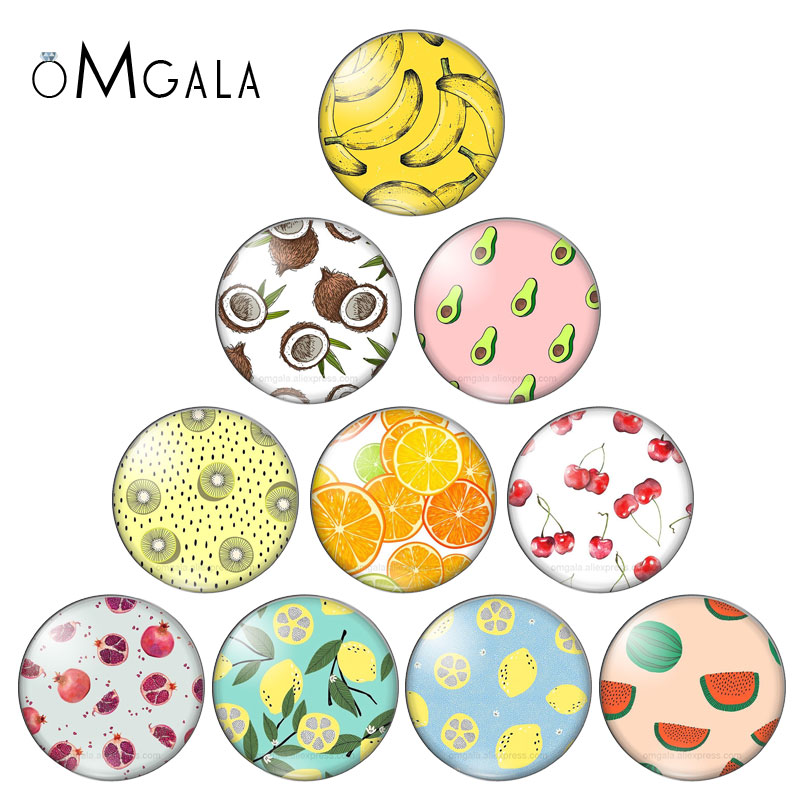 Fruit Pineapple Strawberry 10pcs Mixed 10mm/12mm/14mm/16mm/18mm/20mm Round Photo Glass Cabochon Demo Flat Back Making Findings
