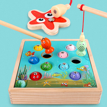 Kids Wooden Fishing Toys Magnetic Fishing Game 3D Fish Ocean Animals Cognition Boys Girls Learning Educational Toys for Children