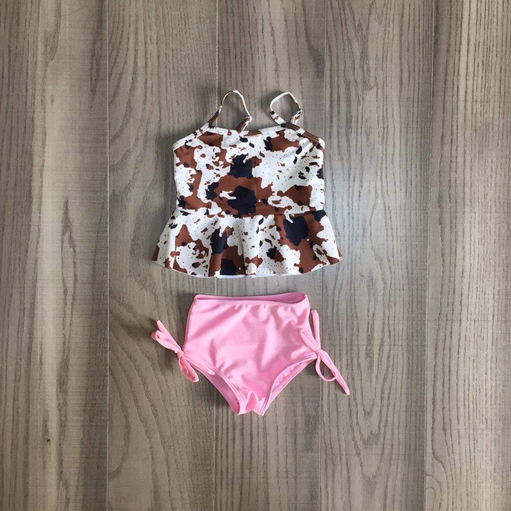 Baby Girls Pink Swimsuit Kids Tie Dye Swimsuit Girl Bathing Set Wholesale