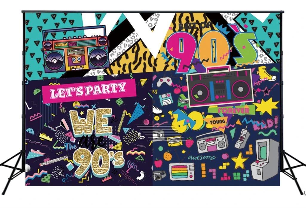 7x5ft 90s House Hip hop Rock Punk Music Dance Disco Retro Adult Birthday Colorful Graffiti Brick Wall Birthday Party Wallpaper Photo Studio Wedding Cloth Family Portrait Background Cloth
