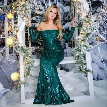 Full Sleeved Elegant Emerald Green Sequined Maxi Dress Padded Long Floor Length Off The Shoulder Slash Neck
