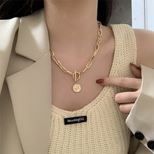 Vintage Carved Coin Thick Chain Necklace Bohemian Punk Metal Coin Collar Choker OT Buckle Necklace Trendy Women Punk Jewelry