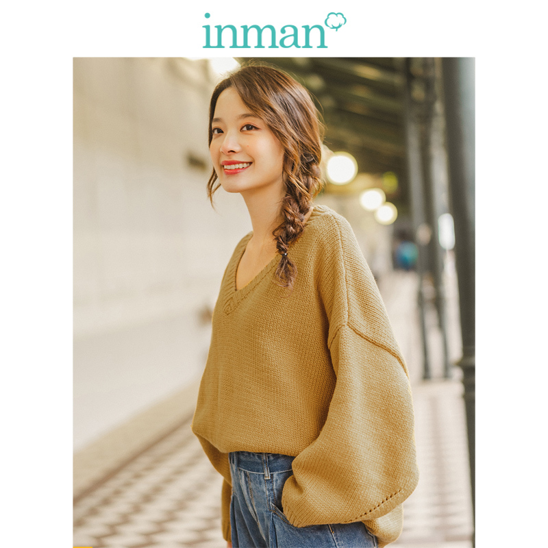 INMAN Winter Loose V-neck Drop-shoulder Sleeve Solid Literary All Matched Women Pullover
