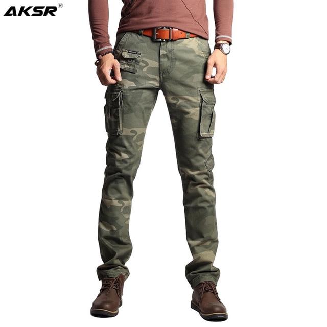 גברים של כותנה הסוואה מכנסיים מטען גדול גודל גמיש טקטי צבאי מכנסיים חאקי מכנסיים גבר מכנסיים Streetwear רצים