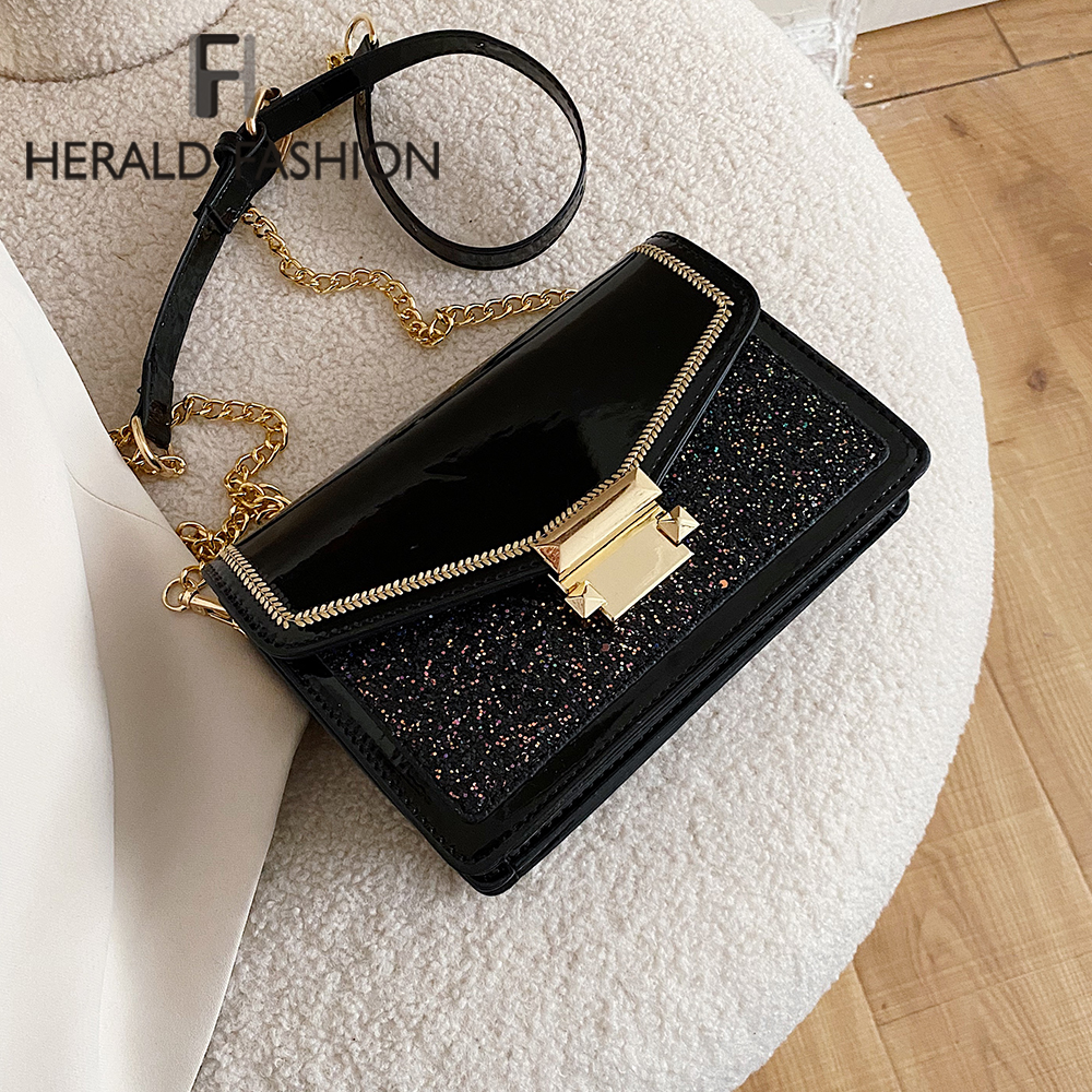 Chain PU Leather Crossbody Bags For Women 2020 Fashion Sequins Shoulder Messenger Bag Female Travel Small Handbags And Purses