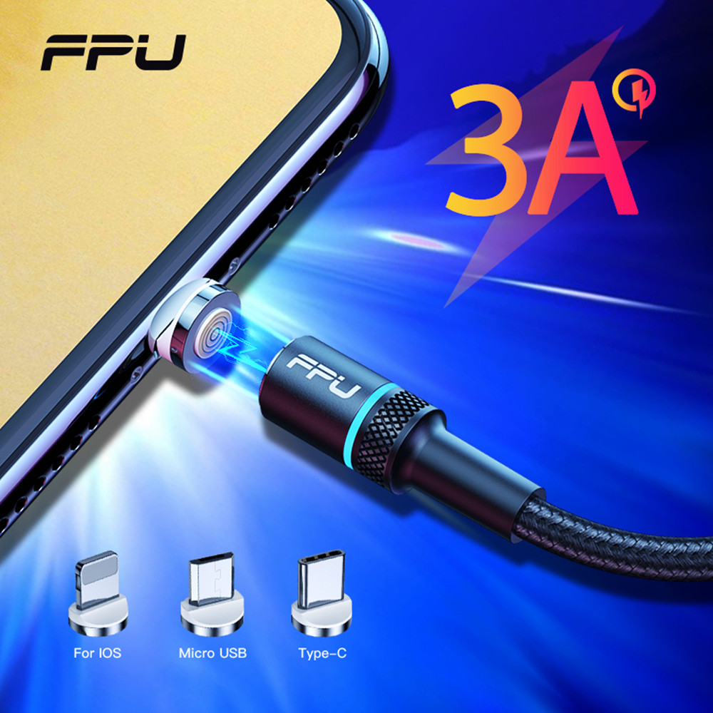 FPU Magnetic Cable 3A Fast Charging For iPhone Micro USB Type C Cable Magnet Charger Adapter USBC Microusb Mobile Phone Cables|Mobile Phone Cables| |  - AliExpress