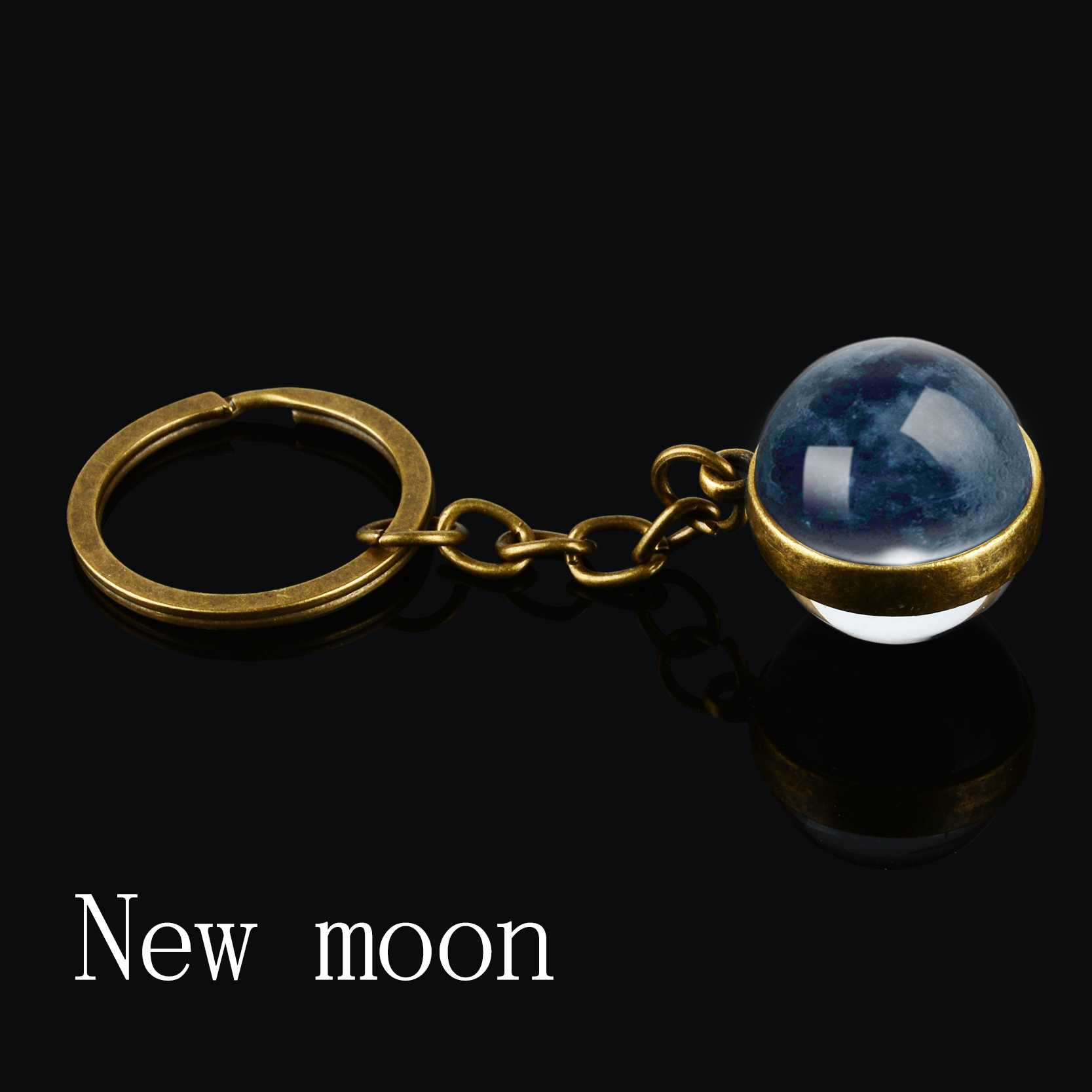 Pha Mặt Trăng Hình Móc Khóa Hành Tinh Tinh Vân Không Gian Keyrings Galaxy Vũ Trụ Mặt Trăng Trái Đất Mặt Trời Sao Hỏa Hệ Mặt Trời 2 Mặt Kính Bóng