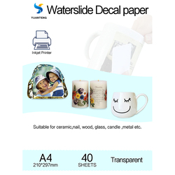 A4 Size Inkjet Water Slide Decal Paper Transparent Color Art Printing Papel Transfer Paper Waterslide Decal Paper 40 sheets/bag