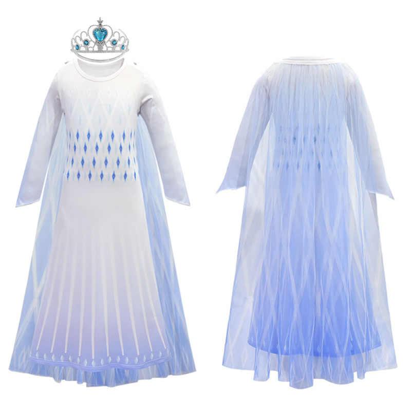 Новинка 2020 года; платье для девочек с изображением Анны и Эльзы комплект для рождественского Хэллоуина «Холодное сердце» из 2 предметов; костюм Эльзы для костюмированной вечеринки, дня рождения; белое платье принцессы комплект с париком и маской