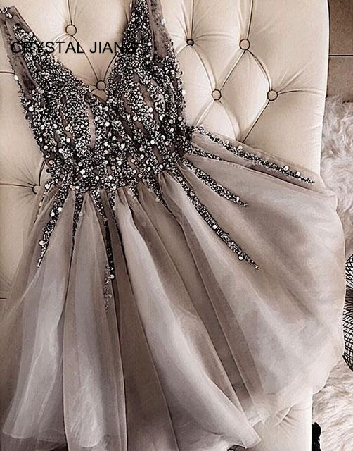 Hot Sale 2019 Sexy Beaded   Cocktail     Dresses   Custom made Gray Tulle Short Mini Party Gown V-Back Sexy   Dresses