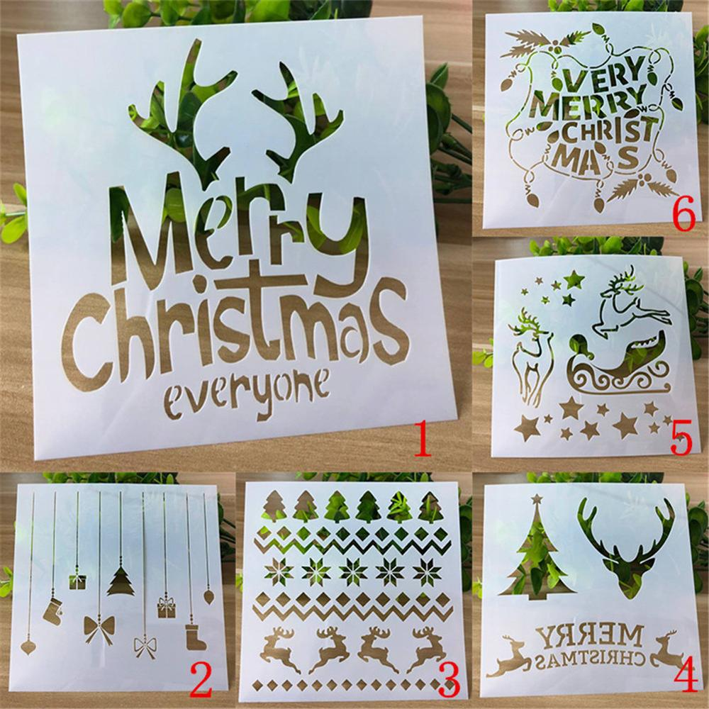 Christmas Stencils Templates Deer Decor DIY Graphics Painting Scrapbooking Stamp Ornament Album Embossed Template Reusable