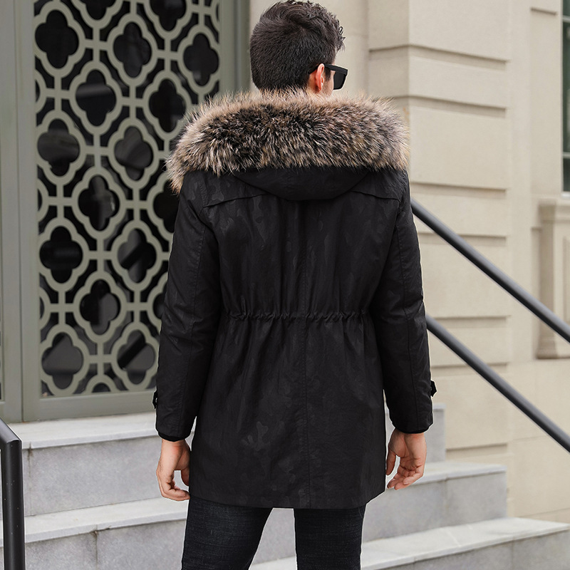 Real Fur Coat Men Mink Fur Coat Winter Jacket Men Real Raccoon Fur Collar Jackets Plus Size Mens Clothing 2020 SF-6797 YY1071