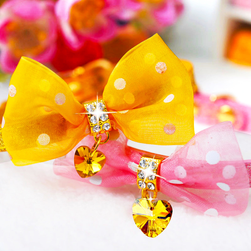 Amigo Polka Dot Bow Neck Ring Pet Cat Dog Neck Circle Small Dogs For Czech Water Diamond