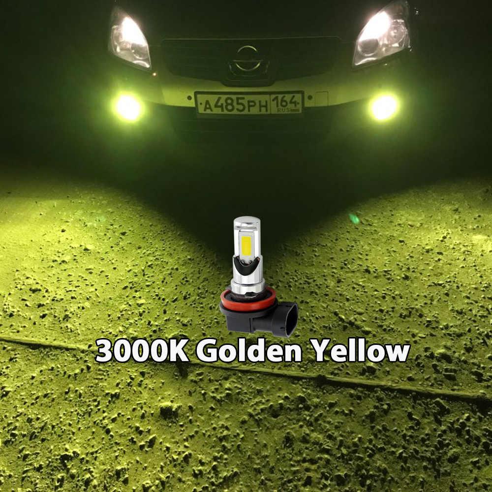 2xExtremely brillante H8 H11 H10 9145 HB3 9005 HB4 9006 H16 PSX24W 2504 H7 Luz de niebla LED lámpara de bulbo 6000k Blanco/3000 k amarillo dorado