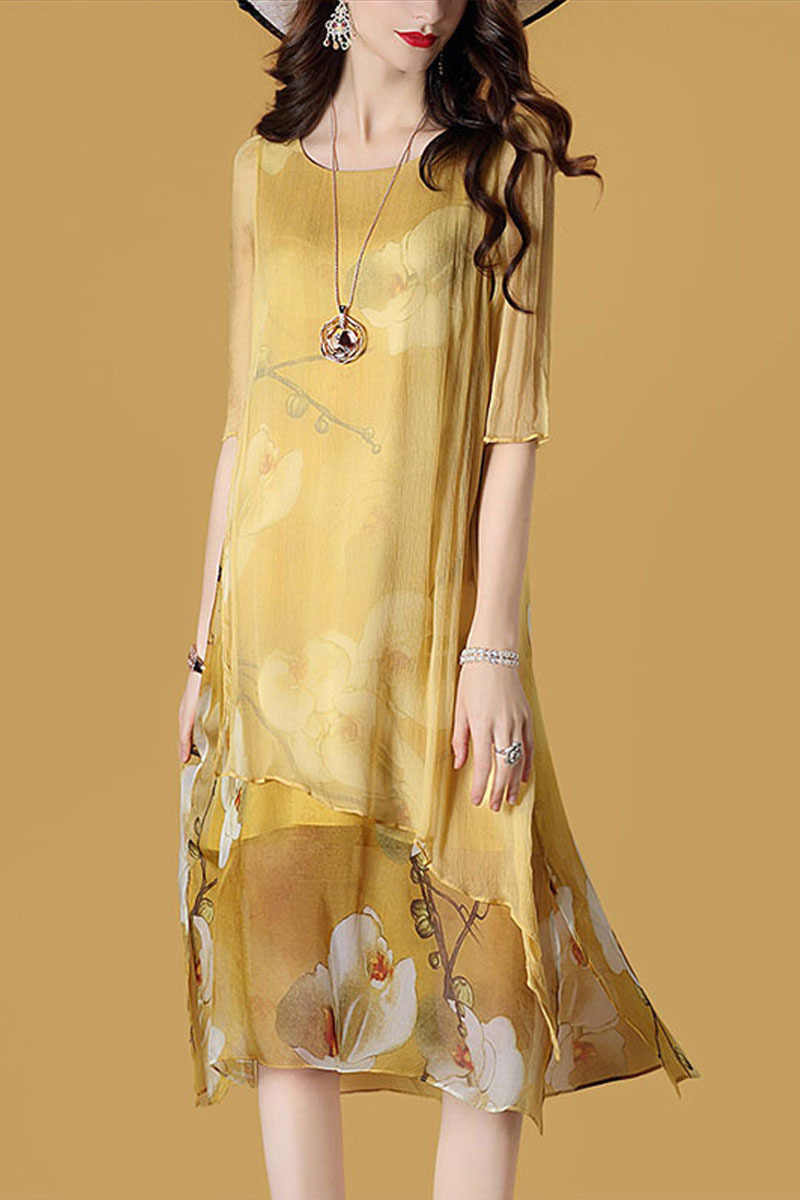 2020 vestido de verão das mulheres praia boho seda amarelo vestido casual midi moda festa vestidos das senhoras mujer kj1987