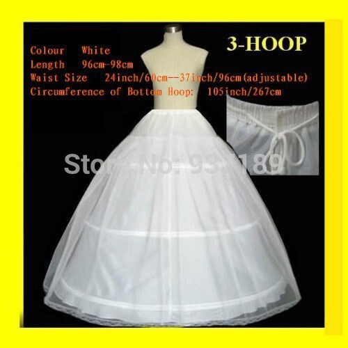 2020 Hot Sale 3 Hoop Ball Gown Bone Full Crinoline Petticoats For Wedding Dress Wedding Skirt Accessories Slip In Stock