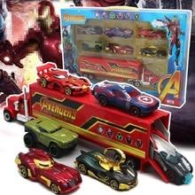 7 יח\סט צעצועי Avengersed 4 סוף המשחק סגסוגת מכוניות משאית דגם ספיידרמן קפטן אמריקה איש ברזל Hulked Superheros פעולה איור