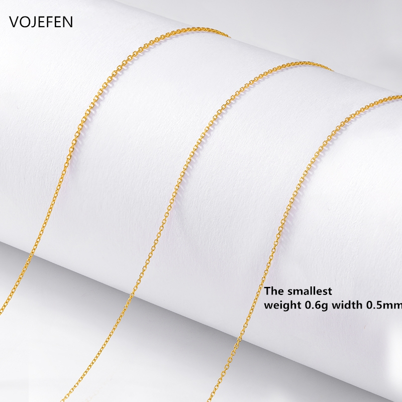 VOJEFEN AU750 18k Pure Gold Chain Rolo Fine Jewelry For Women Gifts For Her, Pendant Accessory Chain Necklaces 5