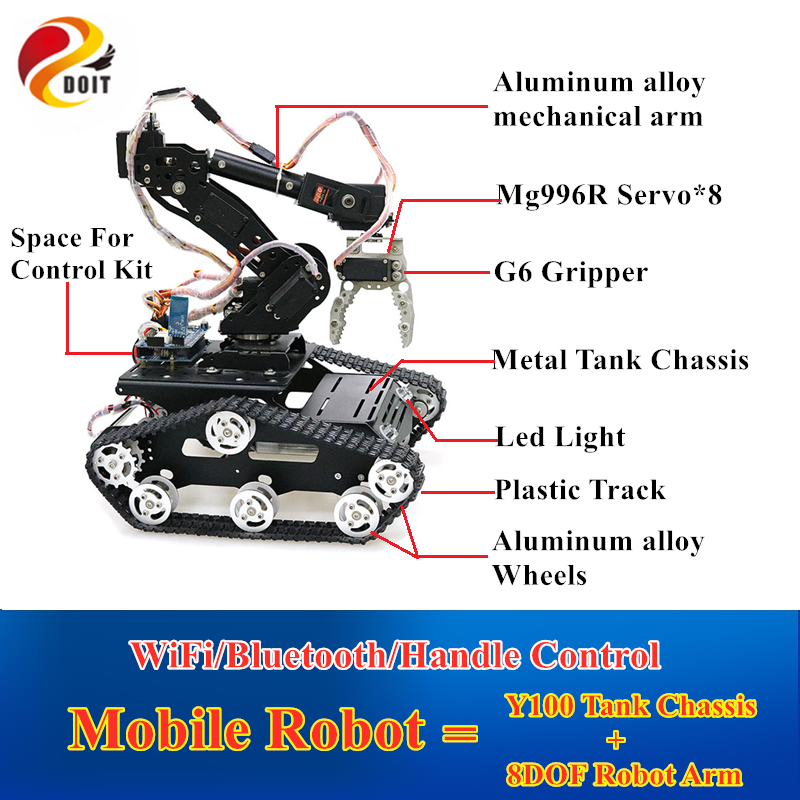 WiFi/Bluetooth/Handle Control Mobile Robot Arm 8DOF Robotic Arm With G6 Gripper And Y100 Metal Tank Chassis for DIY RC Robot Kit